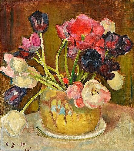 Eero Järnefelt (Finnish artist, 1863-1937) Still Life with Tulips 1915