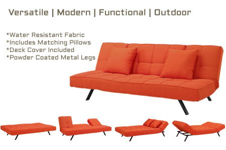Copa Water Resistant Outdoor Modern Convertible Futon Sofabed