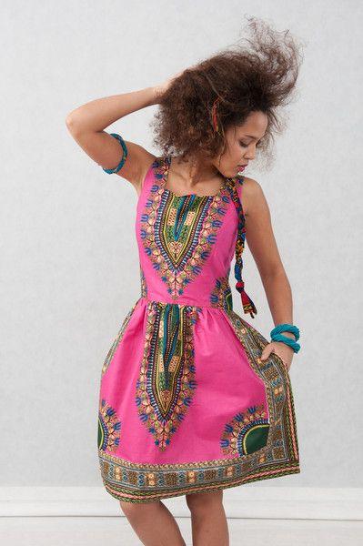 Ballonkleider - Afrikanisch Kleid Addis Abeba - Fuchsia - ein Designerstück von KOKOworld bei DaWanda