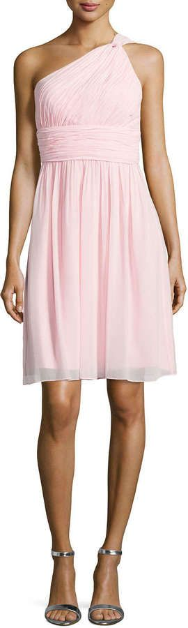 $189, Donna Morgan One Shoulder Chiffon Cocktail Dress Blush. Sold by Neiman Marcus. Click for more info: https://lookastic.com/women/shop_items/228680/redirect