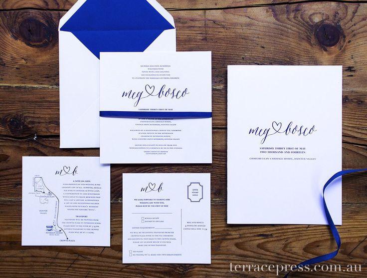 Meg & Bosco - vibrant blue invitation and order of service #letterpress #terracepress #wedding #stationery #invitation #orderofservice
