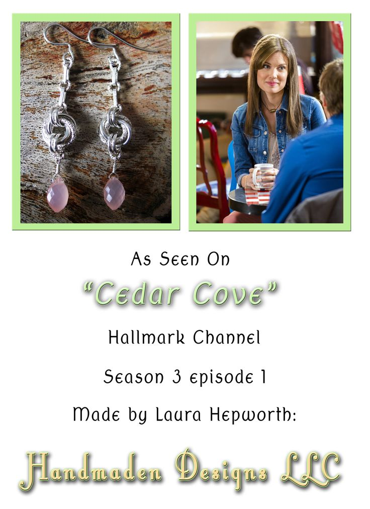 As seen on Cedar Cove, sterling silver and Pink Chalcedony Dragondust Mobius Ball chainmaille and metalsmithing earrings.  Worn by Anna van Hooft on Season 3, Episode 1 of Cedar Cove.  Handmaden Designs LLC. $75.
