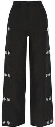 Loewe Embellished Linen Wide-Leg Pants