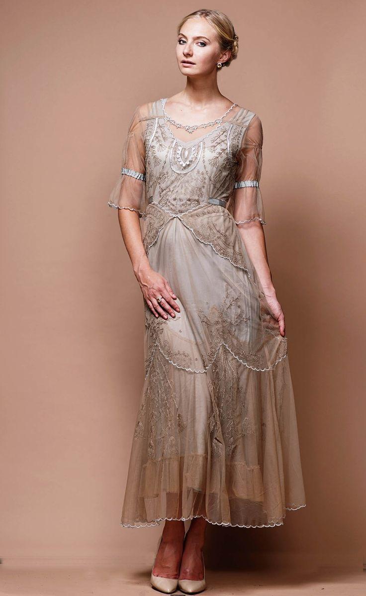Edwardian Vintage Inspired Wedding Dress in SandSilver by Nataya $327.00 AT vintagedancer.com