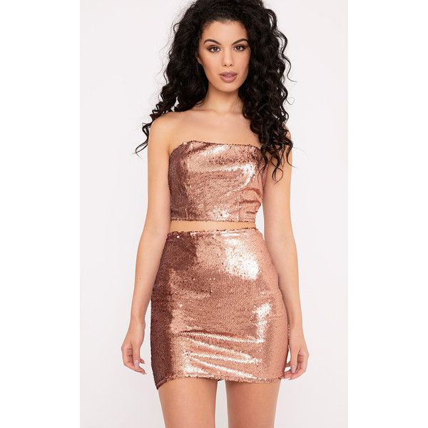 Patrice Rose Gold Sequin Bandeau Top ($24) ❤ liked on Polyvore featuring tops