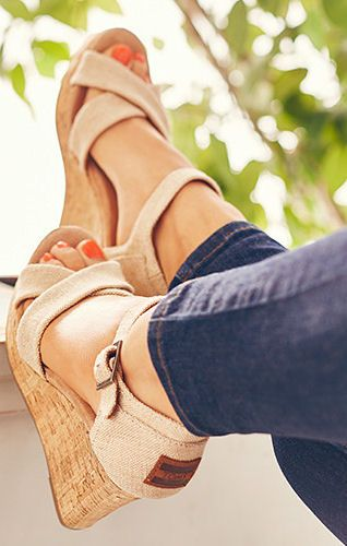 I would so wear these! TOMS Wedges // They're probably the most comfortable wedges on earth. All because of TOMS