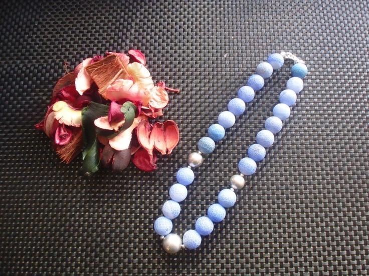 Kette aus Antik-Achat jeansblau marmoriert mit Sterlingsilberperlen, Handarbeit, nickelfrei