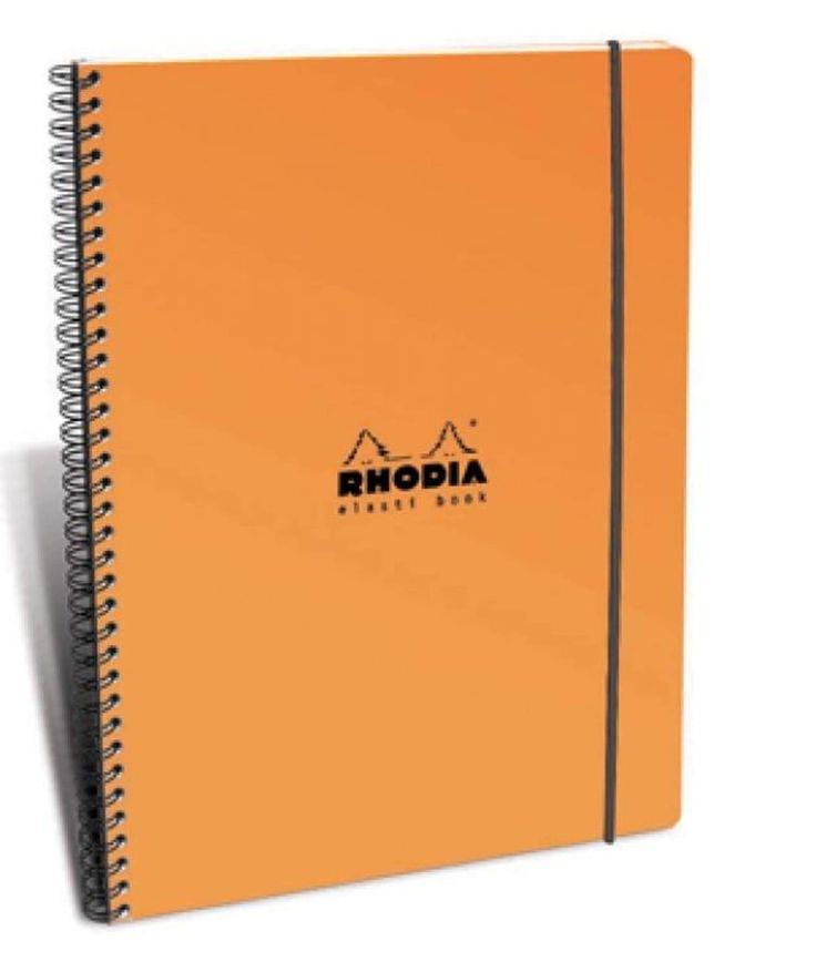 Rhodia Wirebound - Notebook - Orange - Lined with Margin - Elasti Book - 8.25 x 11.75