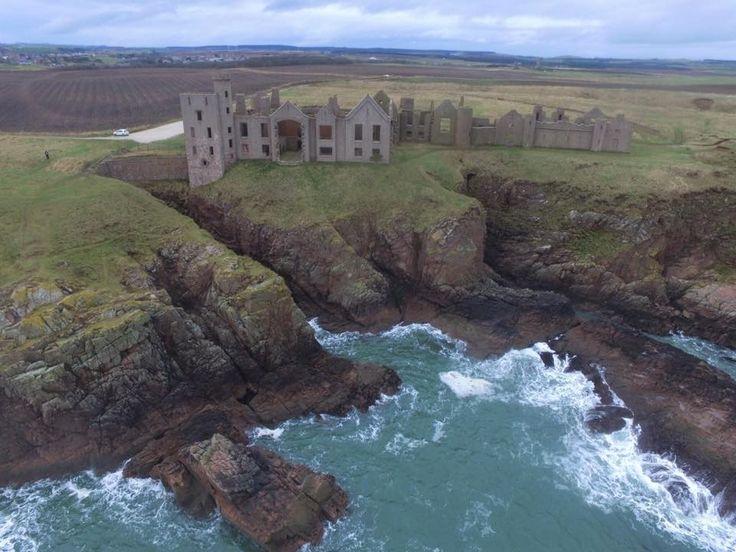 Slains Castle, Cruden Bay cliffs, Aberdeenshire, Scotland.