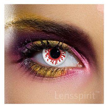 Blood Splat - Blutendes Auge (weiß rote Linse) ideal für #Zombie oder #Monster #Kontaktlinsen