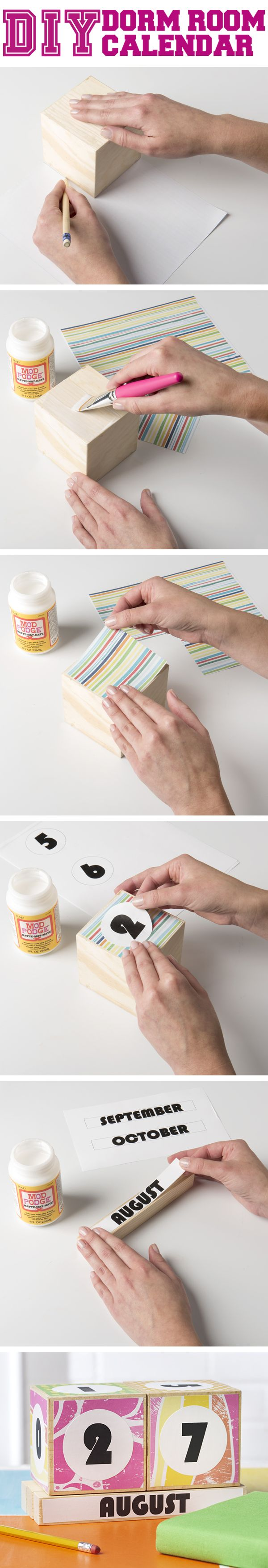 The Ultimate DIY Dorm Room Makeover with Mod Podge! Adorable Block Calendar!