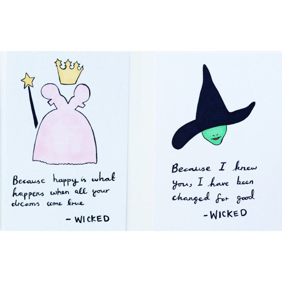Set of 2 A6 Wicked Musical quote prints by KayleyDraws on Etsy