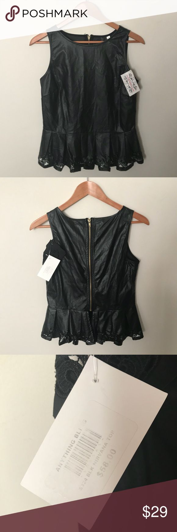 "NWT BLACK SWAN Faux Leather Black Peplum Top New with tags, BLACK SWAN, faux leather black peplum top. Has cut-out design around the bottom of the top. Chest 32"", Length 20"". Clean, non-smoking home. Posh Ambassador (Suggested User), 5⭐️avg rated, ship fast - so you can buy with confidence! 30% bundle discount on 2! BLACK SWAN Tops"