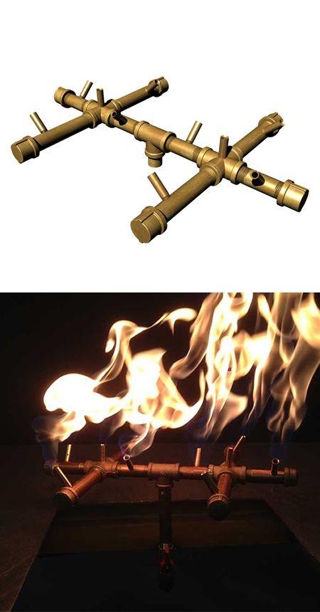 Warming Trends Crossfire Brass Burner 120k Btus Lp Diy Gas Fire