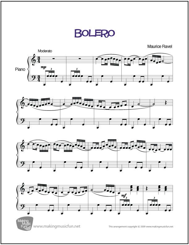 Bolero (Ravel) | Sheet Music for Piano (Digital Print) - http://makingmusicfun.net/htm/f_printit_free_printable_sheet_music/bolero-piano.htm