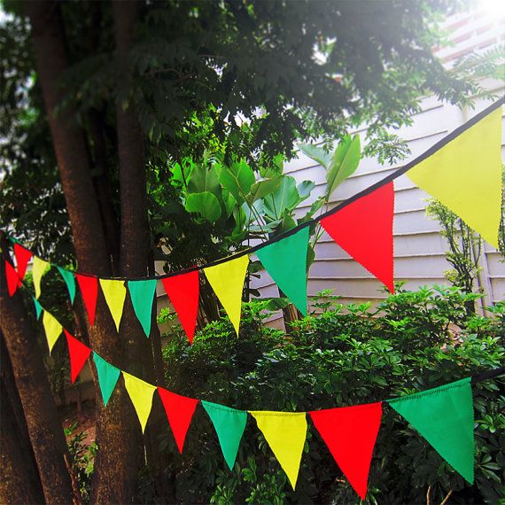 Rasta bunting pennant garland banner   cotton by WorldOfWillows, $4.25
