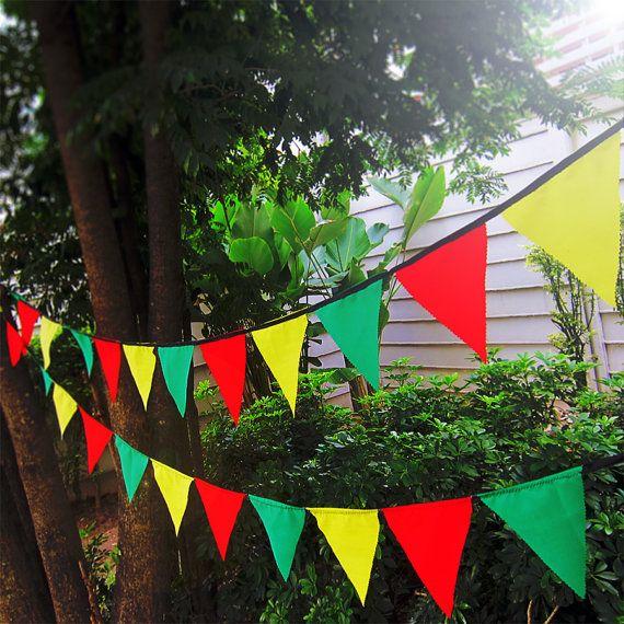 Rasta bunting pennant garland banner   cotton by WorldOfWillows, $4.25