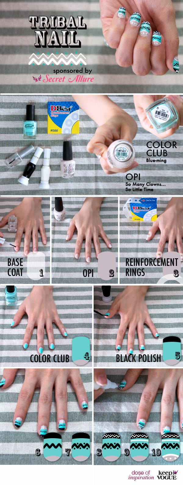 Keep In Vogue - Conceptual Review: Dose of Inspiration - DIY Tribal Nail Sponsor by Secret Alluree