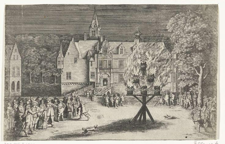 Abraham Dircksz Santvoort | Vreugdevuur bij het bezoek van prinses Maria Henrietta met prins Willem III aan Breda, 1653, Abraham Dircksz Santvoort, 1653 | Vreugdevuur bij het bezoek van prinses Maria Henrietta met haar zoontje prins Willem III, 10 juni 1653. Avondscène met een groep mensen verzameld op een plein voor een kasteel, links de prinses.