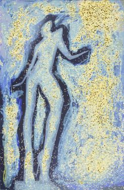 """""""Girl dancing in swirling blues and yellows"""" a darkoom print / painting. Copyright Edward Olive fine art photographer."""
