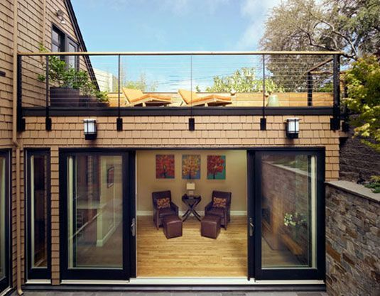 Sunny Modern Space For A In Law Suite 2nd Floor Terrace Design In 2020 Small House Design Wooden House Design Victorian Homes