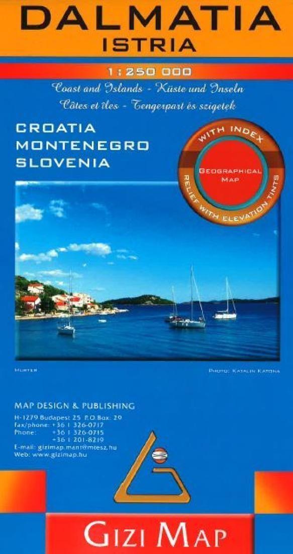 Dalmatia and Istria, Croatia Road Map by GiziMap