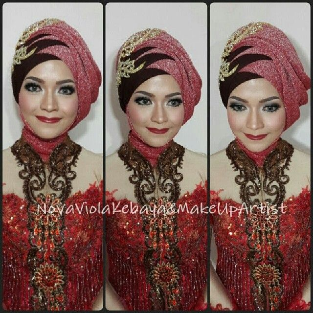 Red hijab bride