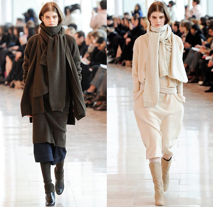 Christophe Lemaire 2014-2015 Fall Autumn Winter Womens Runway Show - Mode à Paris Fashion Week Catwalk - Denim Jeans Indigo Peacoat Outerwear  Trench Coat Wrap Robe Culottes Gauchos Palazzo Pants Wide Leg Scarf Drapery Skirt Frock Ribbed Knit Leggings Blazer Sweaterdress Dress Sweater Jumper Layers Pleats Tie Up Boots Kimono Wide Belt Minimalist Turtleneck Print Motif Leaves Foliage