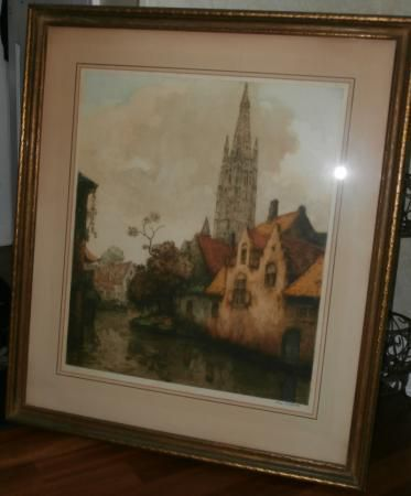 """Alfred Van Neste (1874-1969) signed and numbered print.   Frame measurements: 28 1/4"""" x 32 1/2""""   Image measurements: 18 1/2"""" x 22 1/4""""   Edition: 300/350   Signed bottom right corner, numbered bottom left corner.   Matted and framed under glass.   Print is in excellent condition. Colors are bright and vibrant. Frame is in good shape. Slight waviness on the matte border...for Sale $ 250,-"""
