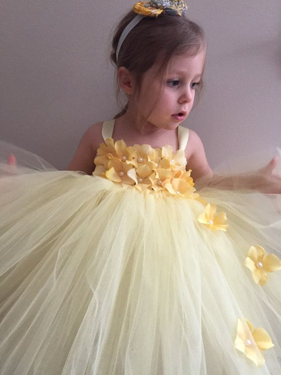 Light yellow flower girl tulle dress yellow by AnaBeanDesigns