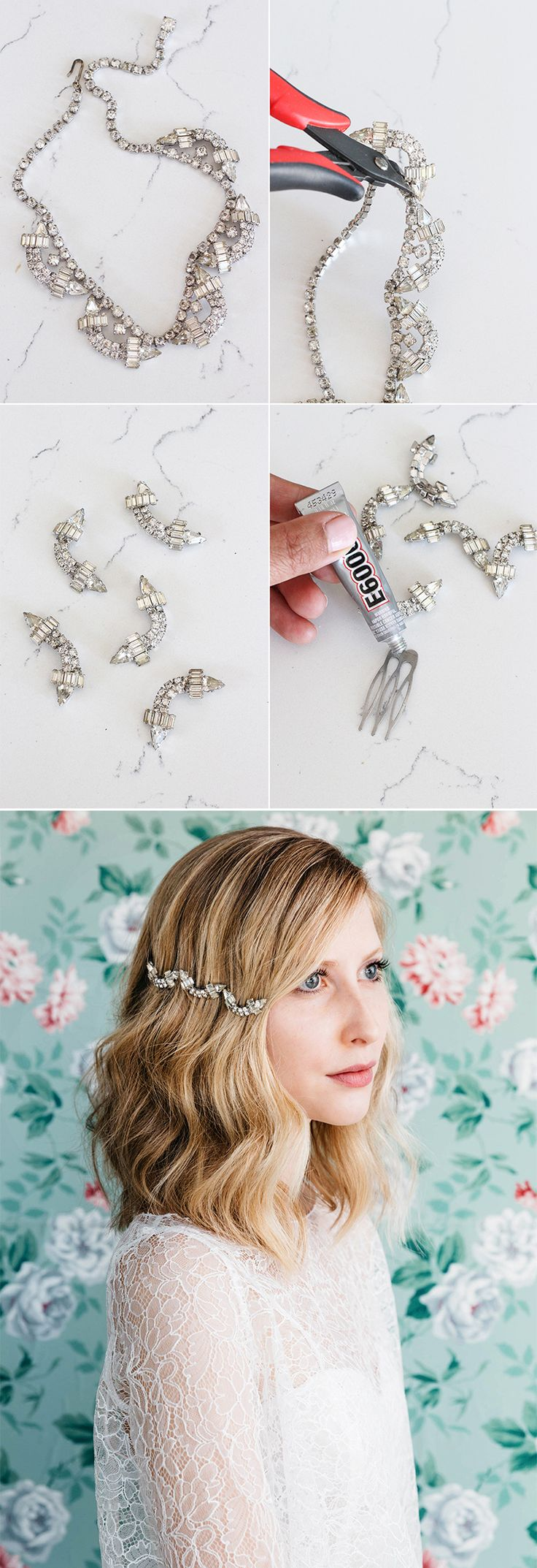 DIY bridal hair accessories using parts from vintage costume jewelry @Etsy