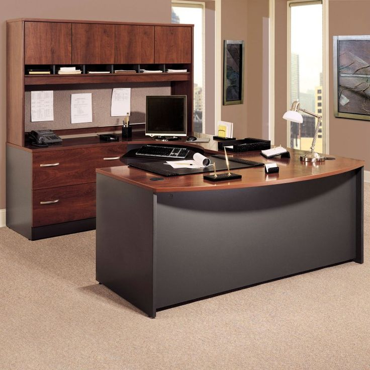 bush series c u shaped desk with 4 door hutch and lateral file bhi450 bush desk hutch office