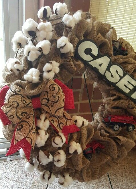 Case IH burlap wreath with toy tractors and cotton