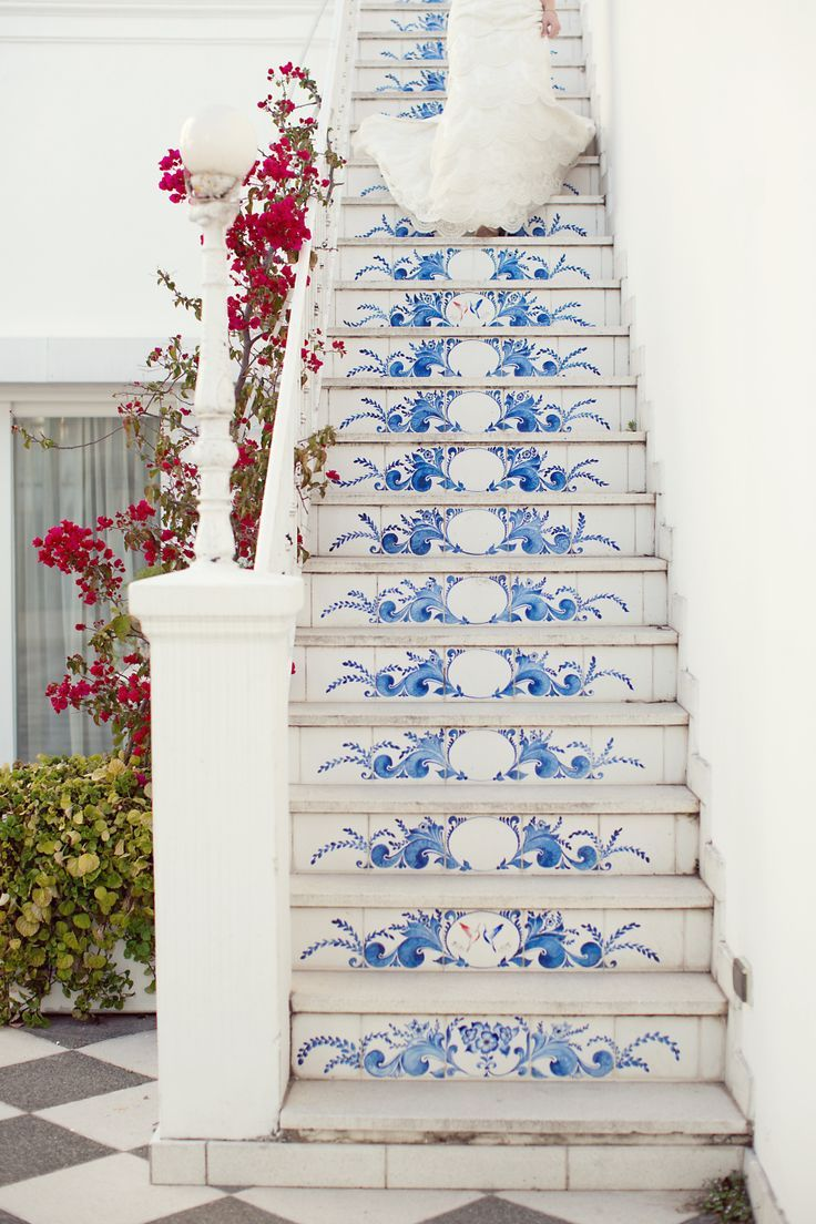 blue and white staircase                                                                                                                                                                                 More