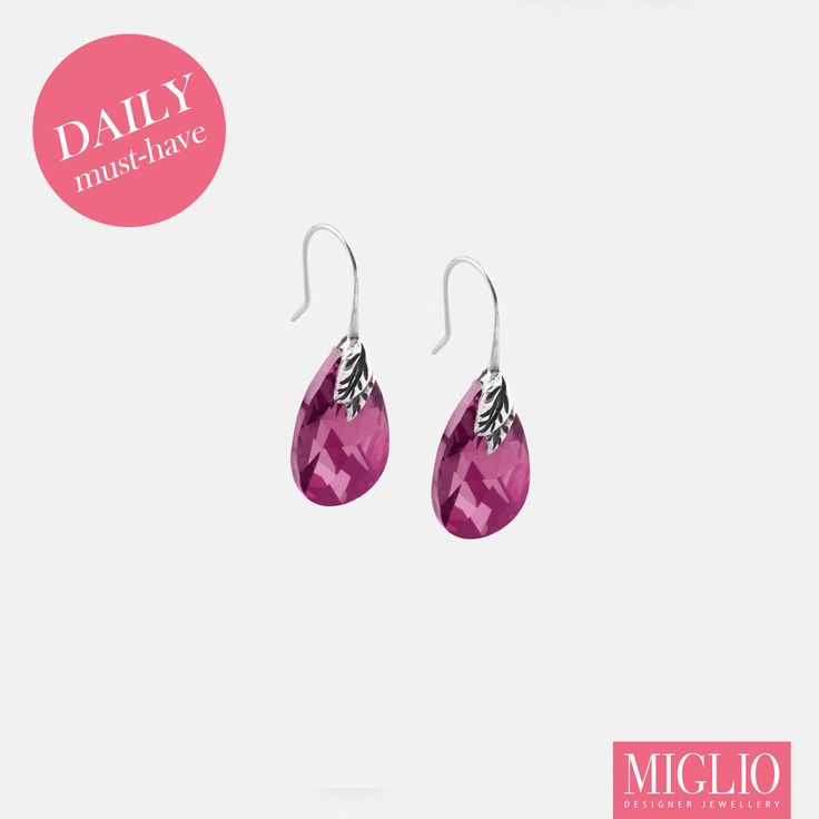 #MustHave product: Fuschia #Swarovski crystal #earrings from #migliodesignerjewellery to brighten up any day!