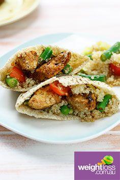 Chicken & Quinoa Wrap. #HealthyRecipes #DietRecipes #WeightLossRecipes weightloss.com.au
