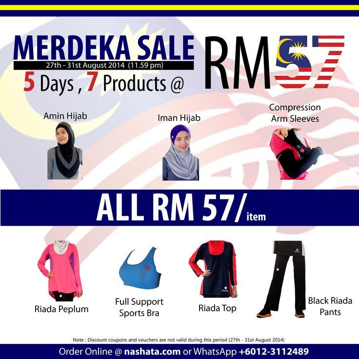 Sambut Ulang Tahun Kemerdekaan dengan Membeli-belah pada harga RM57 sahaja. Jangan lepaskan peluang! Shoppinglah sekarang di nashata.com atau WhatsApp +6012-3112489