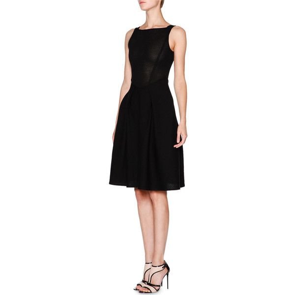 Giorgio Armani Sleeveless Fit-&-Flare Knit Dress ($1,835) ❤ liked on Polyvore featuring dresses, black, zip dress, knit dress, sleeveless fit and flare dress, fit and flare dress and square neckline dress