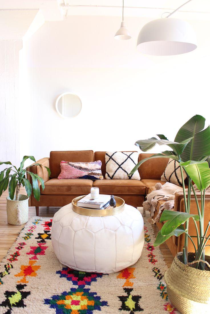 XL Moroccan Leather pouf that makes such a beautiful coffee table