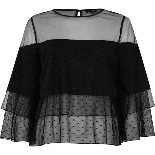River Island Black mesh layered frill top (220 GTQ) ❤ liked on Polyvore featuring tops, shirts, long sleeve tops, river island, black, sale, women, ruffle long sleeve shirt, shirt top and tall shirts