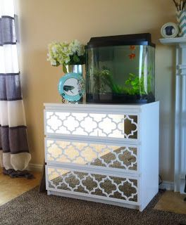 """Cheapo Copy Cat: Ikea Hack: Malm Mirrored Dresser by using fretwork designs by www.myoverlays.com.  At the end of this """"how-to"""", they give you a code for 15% discount too!"""
