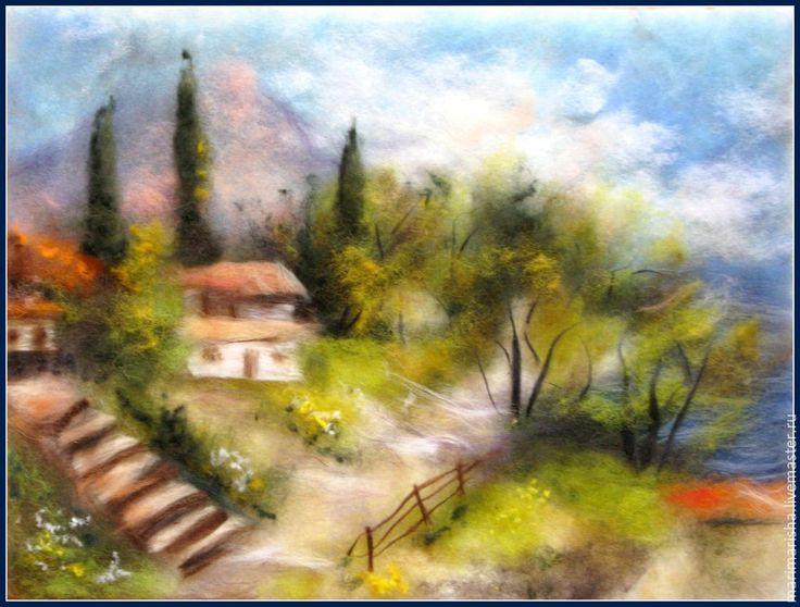 Купить Картина из шерсти Пейзаж. Природа - картина из шерсти, живопись шерстью, Живопись, пейзаж, пейзажи