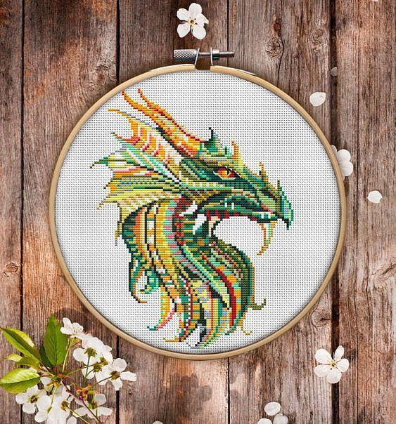 Mandala Dragon Cross Stitch Pattern for Instant Download