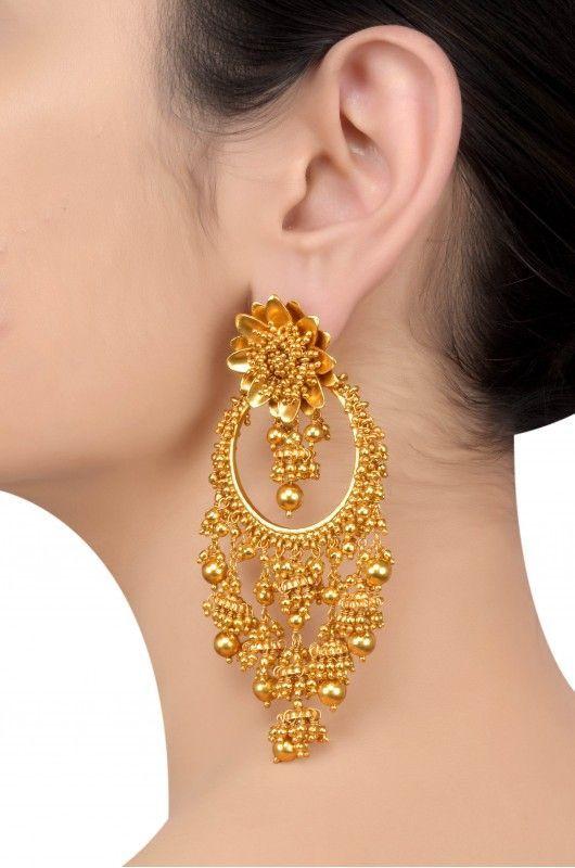 Silver Gold Plated Lotus Multi Jhumki Ball Droplet Earrings