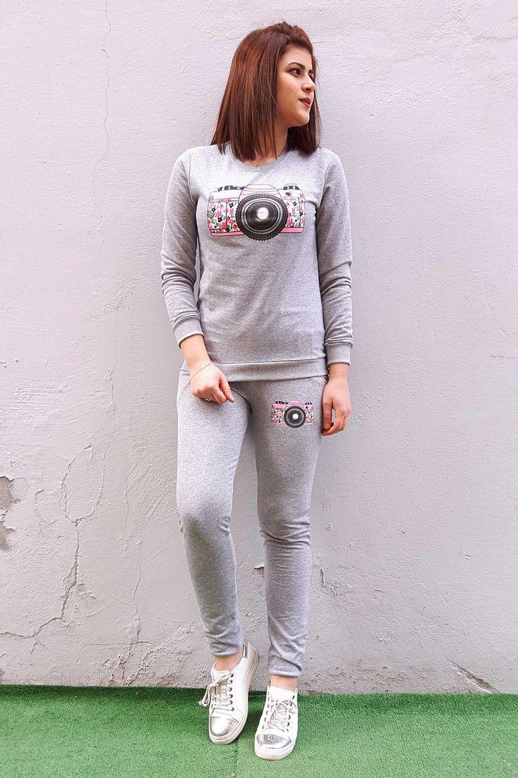 Instagram Baskili Bayan Esofman Takimi Moda Stilleri Tarz Moda Kapusonlu Sweatshirt