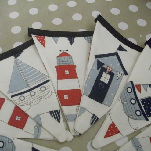 Sea-side / Nautical bunting. Perfect for in the bathroom around a mirror or in a child's themed bedroom
