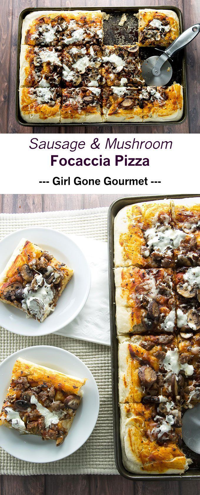 Pillow-y soft focaccia topped with Italian sausage, mushrooms, and cheese   girlgonegourmet.com