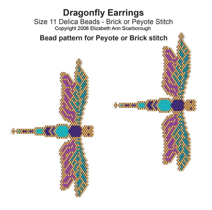 Dragonfly Earrings | Bead-Patterns.com                                                                                                                                                                                 More