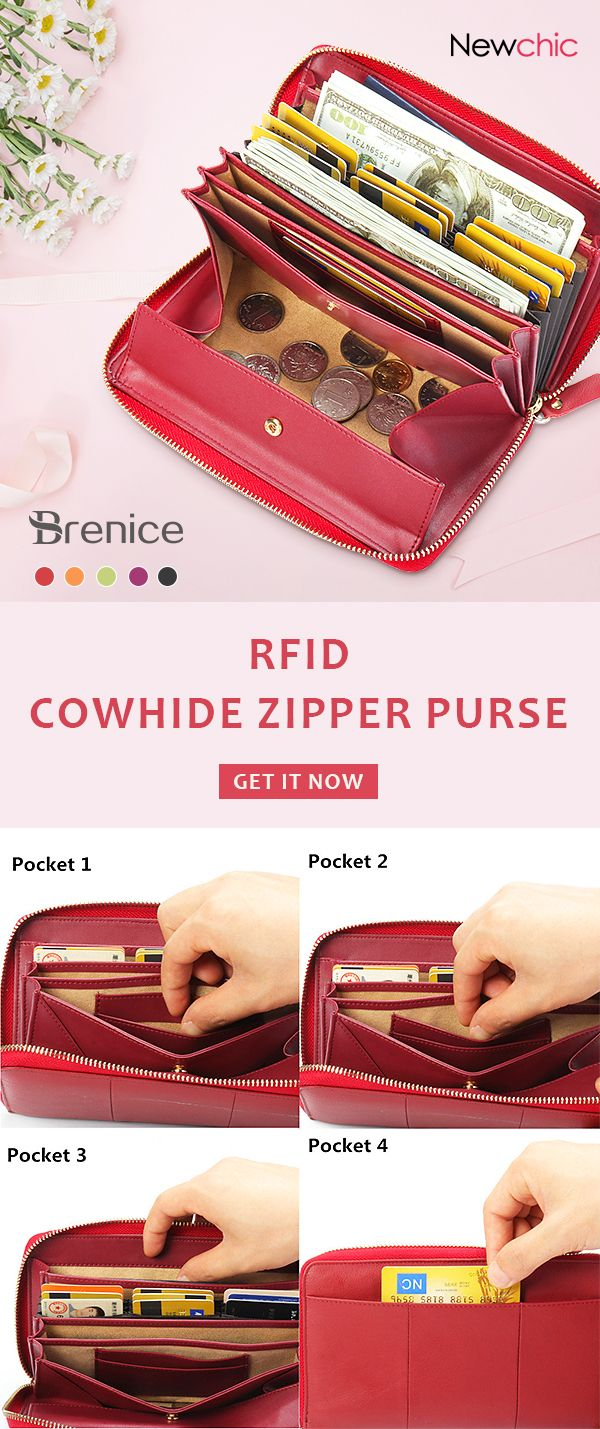 【US$ 36.39】Brenice RFID Cowhide Zipper Long Wa…