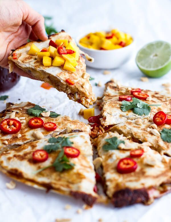 Sweet Thai Chili Salmon Quesadillas with Spicy Mango | http://halfbakedharvest.com